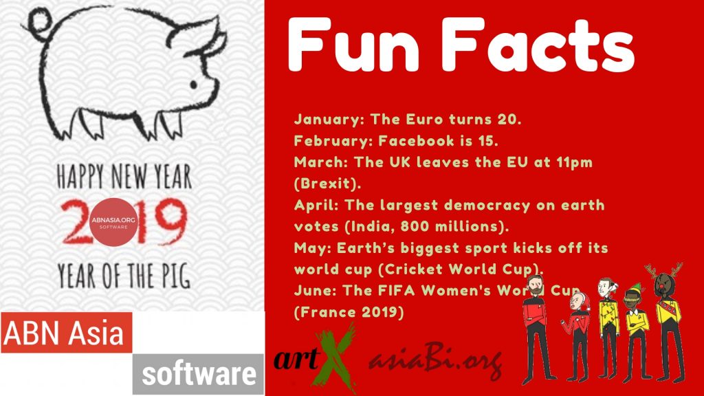 """January: The Euro turns 20. February: Facebook is 15. March: The UK leaves the EU at 11pm (Brexit). April: The largest democracy on earth votes (India, 800 millions). May: Earth's biggest sport kicks off its world cup (Cricket World Cup). June: The FIFA Women's World Cup (France 2019) July: """"Summer of 69"""" turns 50. August: Napoleon turns 250. September: Japan hosts a world cup (Rugby). October: Mahatma Gandhi turns 150. November: Mercury puts a dot on the Sun. December: An asteroid misses the Earth (hopefully). Also: """"Star Wars Episode 9"""" comes out (most likely)."""